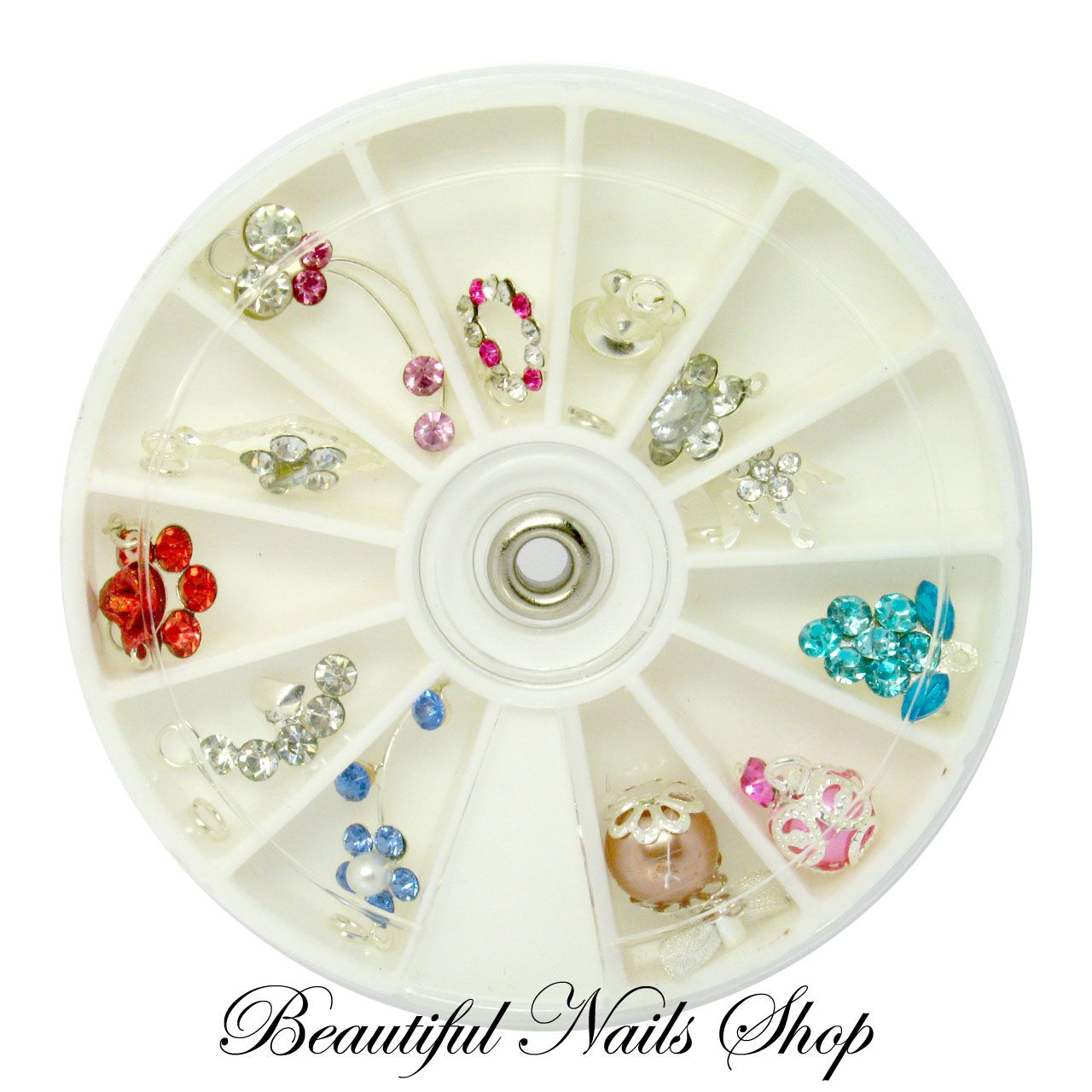 12 Nail Art Decoration Dangles Charms With Rhinestones set 3
